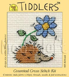 Hedgehog with Flower cross stitch kit by Mouse Loft