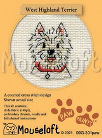 West Highland Terrier cross stitch kit by Mouse Loft