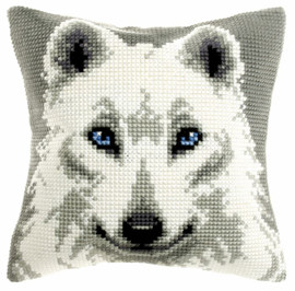 White Wolf Large Chunky Cross Stitch Kit Cushion by Orchidea