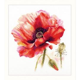 Bright Red Poppy Cross Stitch Kit By Artibalt