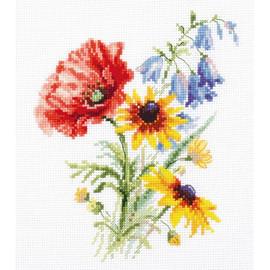 Boquet With poppy Cross Stitch Kit By Artibalt