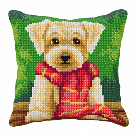 Cross Stitch Kit: Cushion: Large: Little Dog in a Scarf By Orchidea