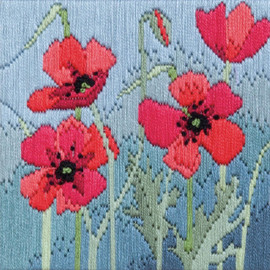 Wild Poppies Silken Long Stitch kit by Bothy Threads