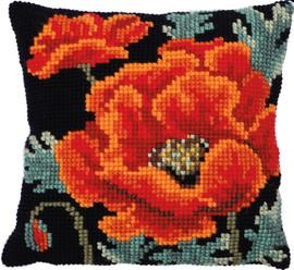 Poppy Bloom Printed Cross Stitch Kit by Needleart World