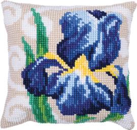 Blue Iris Printed Cross Stitch Kit by Needleart World