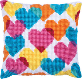 Heart Collage Printed Cross Stitch Kit by Needleart World