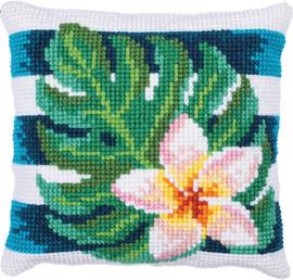 Frangipani Shade Printed Cross Stitch Kit by Needleart World