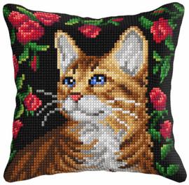 Cat Cushion Chunky Cross Stitch Kit by Orchidea