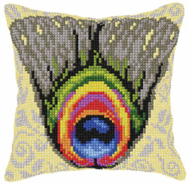 Peacock Feather Large Cushion Chunky Cross Stitch Kit by Orchidea