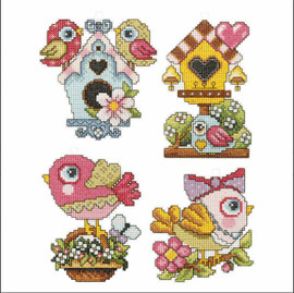Spring Motifs: Set of 4 Cross Stitch Kit by Orchidea