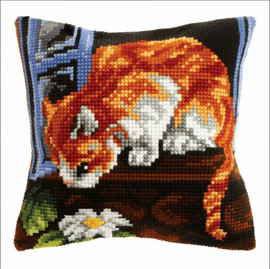Curious Cat Large Cushion Cross Stitch Kit by Orchidea
