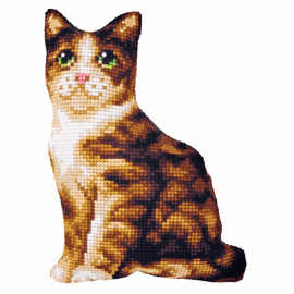Large Cat Cushion Chunky Cross Stitch Kit By Orchidea