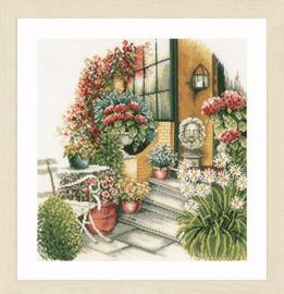 Terrace in Autumn Bloom Cross Stitch Kit by Lanarte