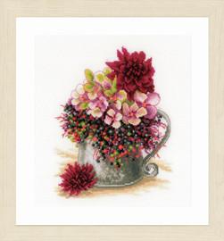 Pink Blush Bouquet Cross Stitch Kit By Lanarte
