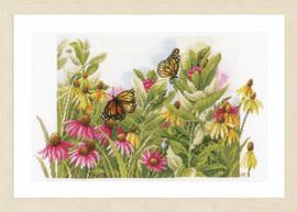 Butterflies & Cone Flowers Cross Stitch Kit by Lanarte
