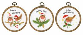 3 Miniatures Christmas Birds Cross Stitch Kits by Vervaco