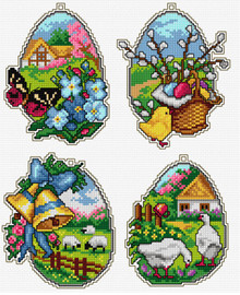 Counted Cross Stitch Kit Easter Eggs Set of 4 by Orchidea