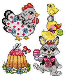 Counted Cross Stitch Kit Easter Motifs Set of 3 by Orchidea
