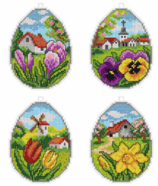 Counted Cross Stitch Kit Spring Eggs Set of 4 By Orchidea
