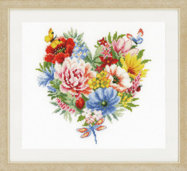 Heart of Flowers Cross Stitch Kit by Vervaco