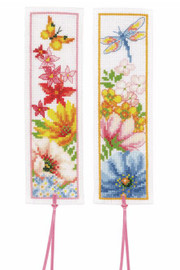 Colourful Flowers Cross Stitch Bookmark Kits set of 2 by Vervaco