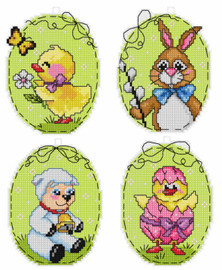 Set of 4 Easter Eggs Counted Cross Stitch Kit by Orchidea