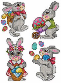 Set of 4 Easter Bunnies Counted Cross Stitch Kit by Orchidea