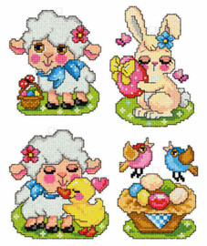Set of 4 Easter Pets Counted Cross Stitch Kit by Orchidea