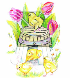 Easter Chicken Greetings Card Counted Cross Stitch Kit by Orchidea