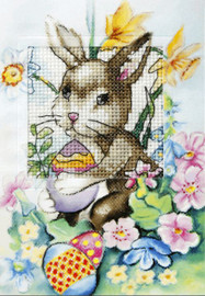 Easter Bunny Greetings Card Cross Stitch Kit by Orchidea