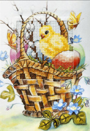 Easter Chicken in a Basket Greetings Card Cross Stitch Kit by Orchidea