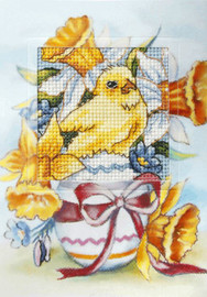 Easter Chicken with Easter Egg and Daffodils Greetings Card Cross Stitch Kit by Orchidea