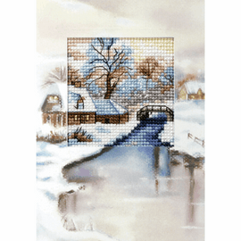 Winter River Christmas Card Cross stitch Kit by Orchidea