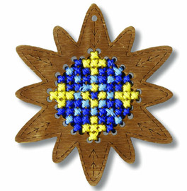 Plywood Ornament: Star Cross Stitch Kit By Orchidea