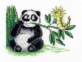 Panda and Caterpillar Counted Cross Stitch Kit By Klart