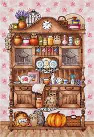 Shelves with Owls Counted Cross Stitch Kit By Panna