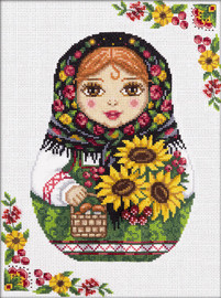 Russian Doll Autumn Counted Cross Stitch Kit By Panna