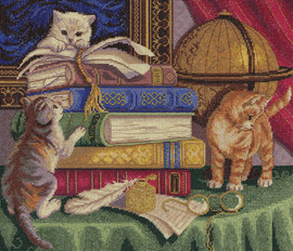 Kittens with Books Counted Cross Stitch Kit By Panna