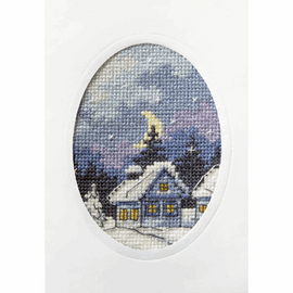 Twilight Cottage Greetings Card Cross Stitch Kit by Orchidea