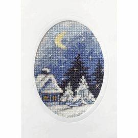 Twilight Winter Scene Greetings Card Cross Stitch Kit