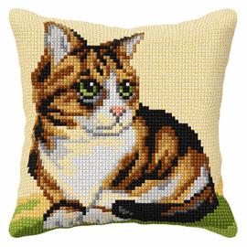 Sitting Cat Cross Stitch Large Cushion Kit by Orchidea