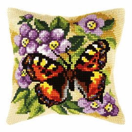 Butterfly Cross Stitch Large Cushion Kit by Orchidea
