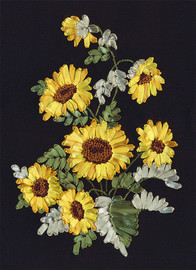 Golden Sunflowers Ribbon Embroidery Kit By Panna