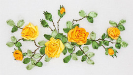 Yellow Roses Ribbon Embroidery Kit By Panna