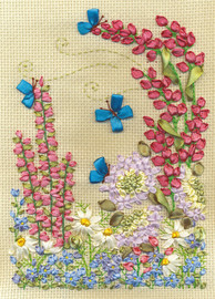 Lupins and Butterflies Ribbon Embroidery Kit By Panna