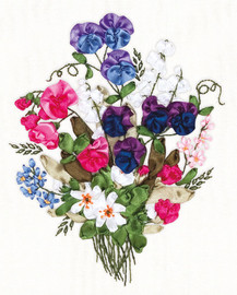 Colourful Sweet Pea Ribbon Embroidery Kit By Panna