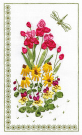 Flowers and Dragonfly Ribbon Embroidery Kit By Panna