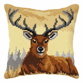 Deer Cross Stitch Large Cushion Kit by Orchidea
