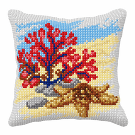 Coral and Starfish Large Cushion Cross Stitch Kit by Orchidea