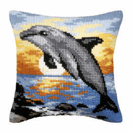 Dolphin Cross Stitch Large Cushion Kit by Orchidea